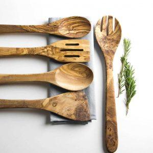 original set de utensilios de madera de olivo